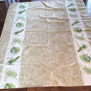 "Tropical Tablecloth 59"" x 75"" Green Tan Palms EUC"
